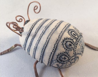 Blue and white Ceramic Beetle