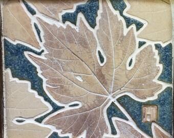 Grapevine leaf, Framed ceramic mosaic of a leaf, ceramic picture. wall art. Decor.