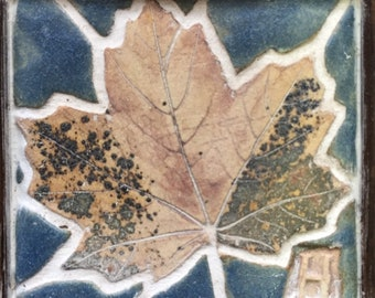 Small English Sycamore leaf, Framed ceramic mosaic of a leaves, ceramic picture. wall art. Decor.