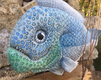 Blue green fabric fish sculpture, faux taxidermy fish with wood base.