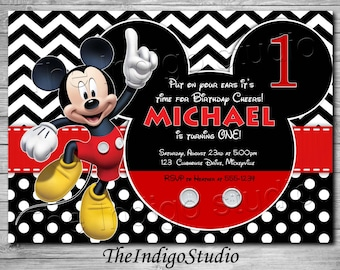 Mickey Mouse 1st Birthday Invite Card