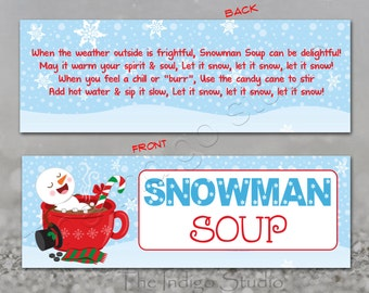 picture about Snowman Soup Free Printable Bag Toppers identify Snowman bag topper Etsy