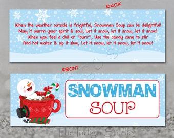 image regarding Snowman Soup Free Printable Bag Toppers named Snowman bag topper Etsy