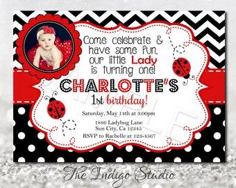 Ladybug invite etsy ladybug birthday invitation diy printable invite 1st birthday with or without photo invitation you print filmwisefo