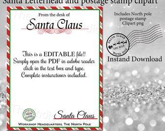 christmas santa letterhead and canceled north pole postage mark png clipart diy editable letter from santa digital printable