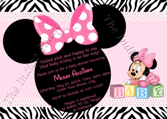 Minnie mouse zebra print baby shower invite card etsy image 0 filmwisefo
