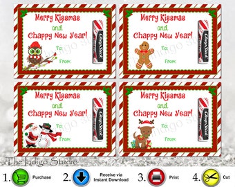 Printable Merry Kissmas and Chappy New Year 4  Different Designs Chap stick card / tag  holder Merry Christmas Happy New Year