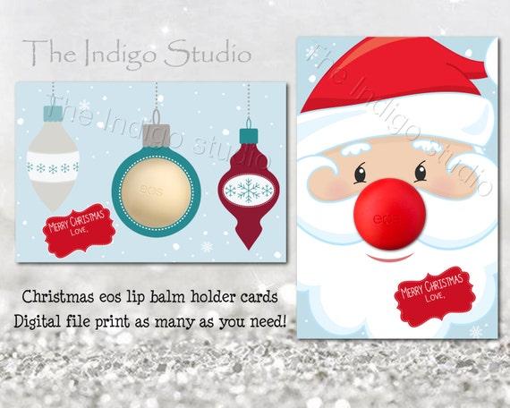Eos Lip Balm Christmas Holiday Card Digital Printable Eos Lip Balm Holder Stocking Stuffer Fillers Neighbor Teacher Gifts