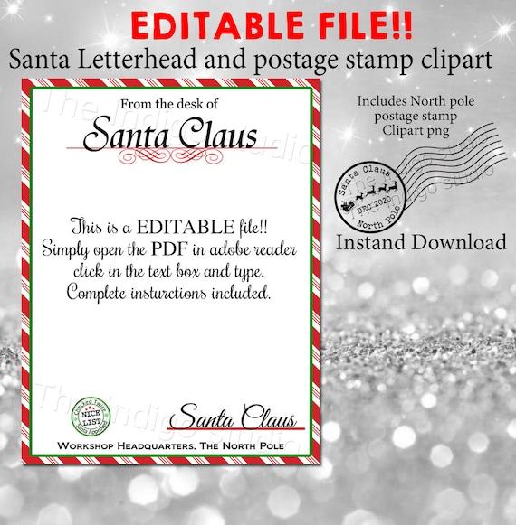 Christmas Santa Letterhead And Canceled 2020 North Pole Etsy