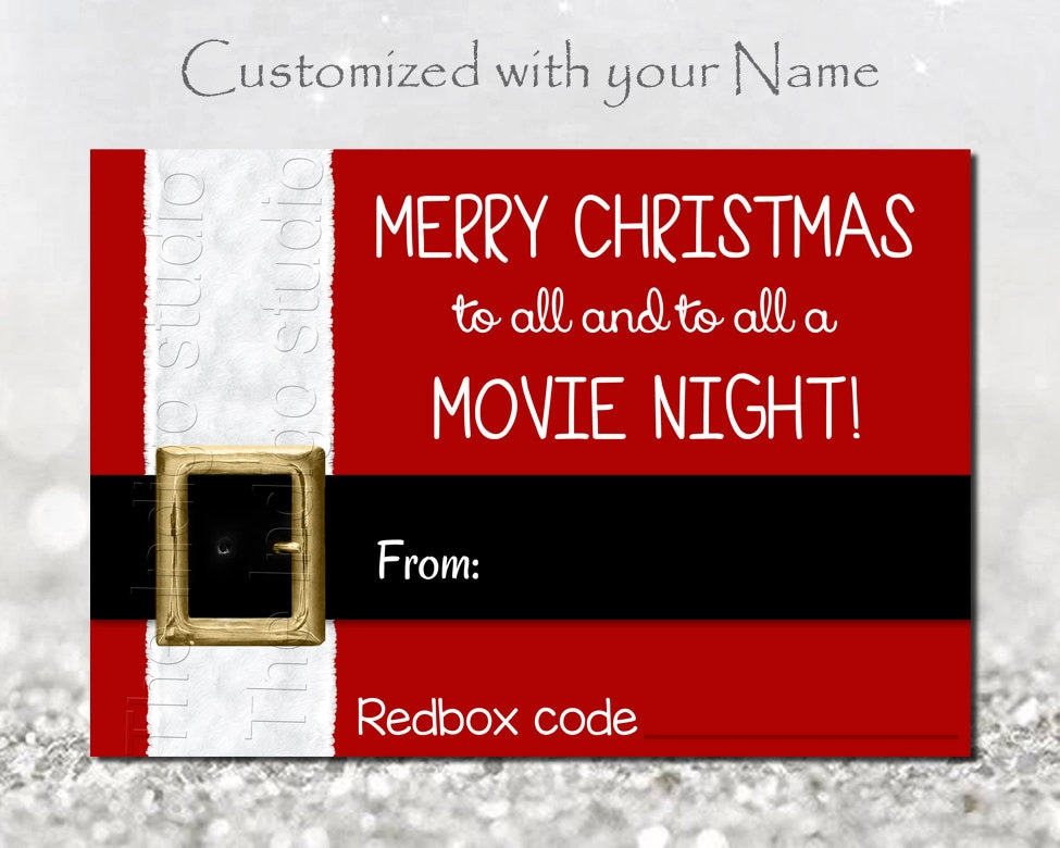 photo relating to Free Printable Redbox Gift Tags called Redbox Codes present Tag Custom-made with your facts Electronic Printable Merry Xmas in the direction of all and in the direction of all a Video Night time REDBOX Code Video Presents