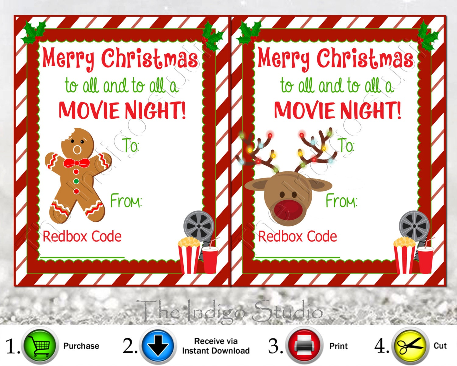 image relating to Free Printable Redbox Gift Tags identify Redbox Codes reward Tags 4 Substitute Models Playing cards Electronic Printable Merry Xmas in direction of all and toward all a Video clip Night time REDBOX Code Online video Presents