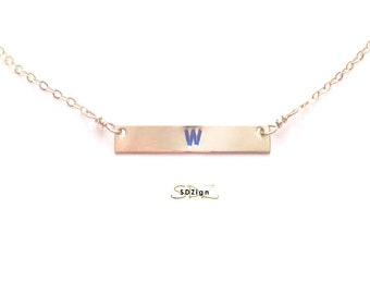 Cubs W / W Necklace / Chicago Cubs / Chicago Cubs Jewelry / Fly the W / W Bar Necklace / Gold Bar Necklace / Silver Bar Necklace / Chicago C