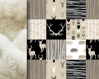 PERSONALIZED Woodland Baby Blanket, tan beige gray black Minky blanket deer bear blanket, antlers blanket girl blanket, birth gift blanket
