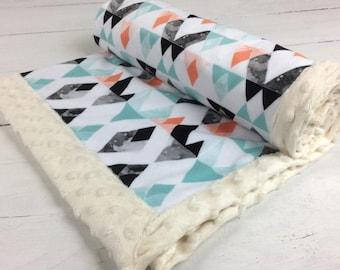 Mountains Baby blanket, coral mint black blanket, Southwest Minky blanket, aztec blanket, adult throw blanket baby shower gift birth