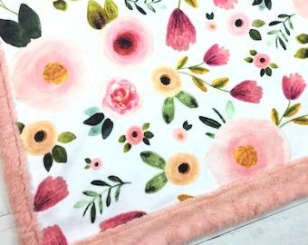 Baby blanket, Minky blanket, floral blanket blanket, Pink peach blanket, baby shower gift birth, girl blanket personalized blanket