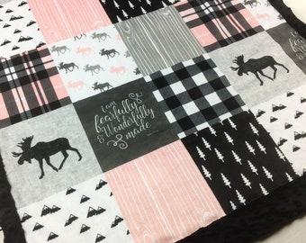 PERSONALIZED pink gray Baby Minky Blanket, woodland moose blanket, crib blanket, girl blanket, plaid lumberjack pink grey black birth gift