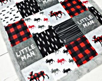 Little Man blanket, Moose Minky blanket, Lumberjack blanket, red buffalo plaid blanket, baby shower gift, woodland boy personalized blanket