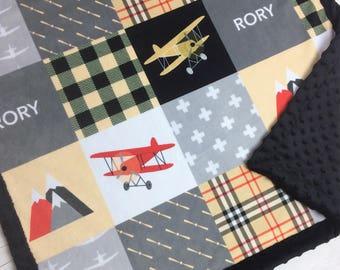 Personalized Airplane Blanket Minky blanket red gray beige plaid blanket, baby shower gift, boy blanket, plane aviation throw blanket