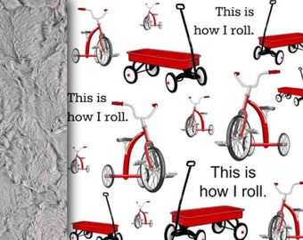 Ride Baby Blanket, This is how I roll, red gray black Minky blanket tricycle cart blanket toddler blanket boy blanket first birthday blanket