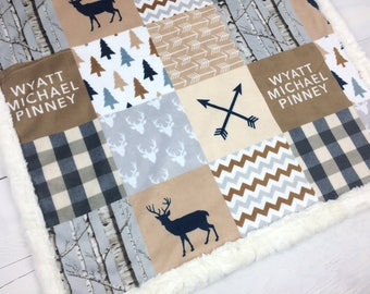 Personalized Baby Blanket, beige gray tan Minky blanket deer arrows plaid lumberjack blanket, little man boy blanket, birth gift blanket