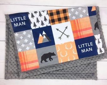 Orange Navy lumberjack blanket, Personalized Baby Blanket Minky blanket bear arrows buffalo plaid, baby shower gift, boy birth gift blanket