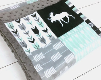 Moose bear Baby blanket, Minky blanket, Mint Navy Gray woodland blanket, baby shower gift, birth, boy blanket, personalized throw blanket