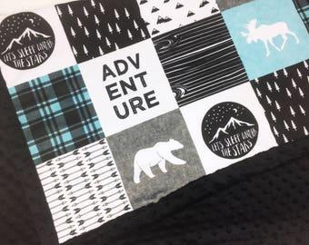 Adventure Baby Blanket, blue gray black Lumberjack Minky blanket moose bear blanket, woodland blanket blanket boy blanket birth gift blanket