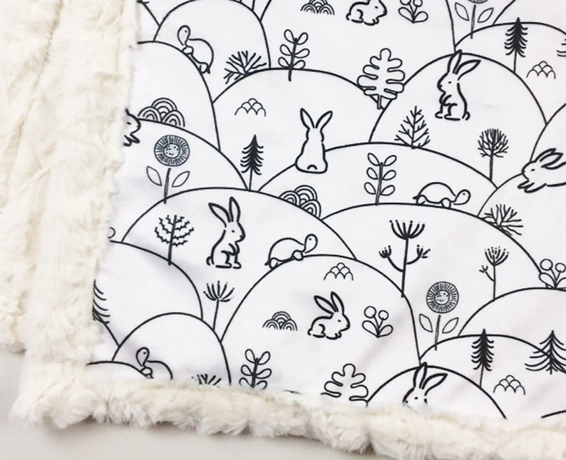 Bunny Baby Minky Blanket in Black and White