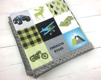PERSONALIZED adventurer minky blanket blue green blanket monster truck bike airplane blanket lumberjack blanket, little boy baby shower gift