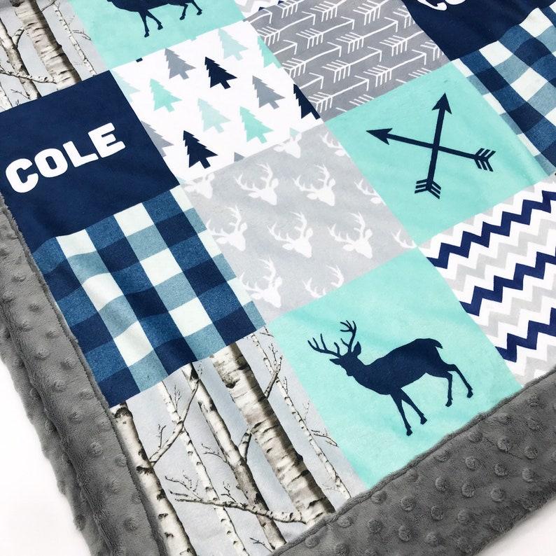 Adult minky blanket Personalized Woodland Baby Boy Blanket-Lumberjack Deer Baby Shower Gift