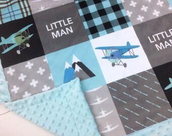 Personalized Airplane Blanket Minky blanket Blue gray plaid blanket, baby shower gift, boy blanket, plane aviation throw blanket