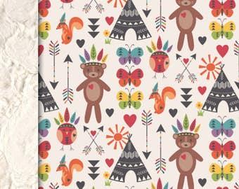 Baby Pinky blanket, tribal blanket, Bears squirrels butterflies blanket, gender neutral blanket baby shower gift, personalized throw blanket