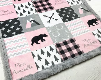 Pink gray lumberjack blanket, Personalized Baby Blanket Minky blanket bear arrows buffalo plaid, baby shower gift, girl birth gift blanket