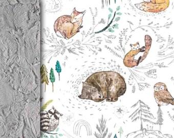 Personalized Baby minky blanket, woodland blanket, bear deer raccoon wildlife blanket gender neutral blanket baby shower gift, throw blanket