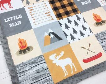 Little Man blanket, Moose Minky blanket, Camping Lumberjack woodland boy personalized blanket, red beige tan plaid blanket, baby shower gift