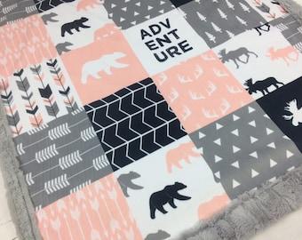 Personalized Baby Blanket, pink gray navy Minky blanket moose arrows blanket,  woodland blanket, adventure girl blanket, birth gift blanket