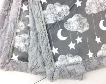 Baby blanket, Minky blanket, Moon stars clouds blanket gender neutral blanket baby shower gift, personalized throw blanket, children blanket