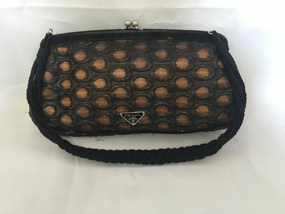 8ad91ace6516 ... cheap vintage prada small over the shoulder clutch bag in black with  etsy 1d4cb 3bd9f