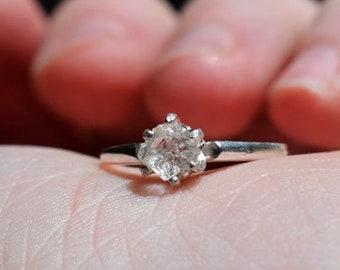 Raw Diamond Engagement Ring, Rough Diamond Ring, Uncut Diamond Ring, Anniversary Ring, Simple Sterling Silver Engagement Ring, Size 6 Avello