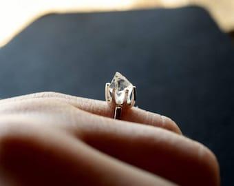 Raw Quartz Engagement Ring Rough Diamond Jewelry Natural Uncut  Ring Wedding Band Set Unique