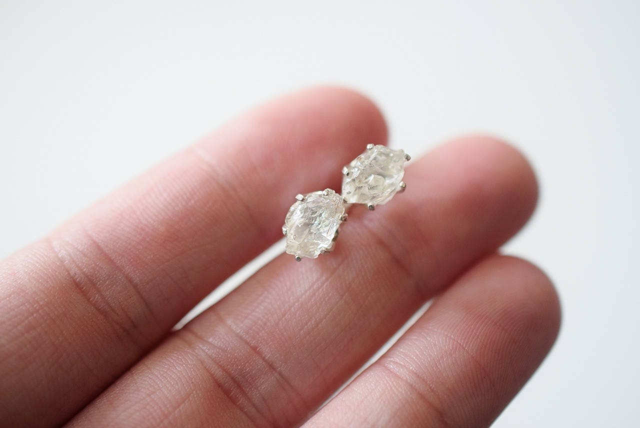 MADE TO ORDER Raw Quartz Earrings Rough Diamond Earring