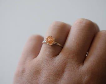 Raw Diamond Engagement Ring, Rough Diamond Wedding Band, Natural Uncut Diamond Engagement Ring, Quartz Ring, Sterling Silver Wedding Band