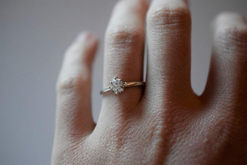 Simple Diamond Engagement Ring Rustic dainty unique alternative simple boho minimalist natural women unconventional crystal promise