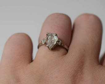 Size 7 14k White Gold Diamond Ring, Raw Diamond Engagement Ring, Solid Gold Engagement Ring, Rough Diamond Ring, Raw Diamond Ring, Avello