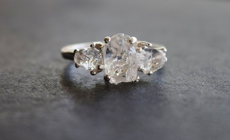 Raw Diamond Ring Alternative Engagement Ring Promise Ring Bright Sterling