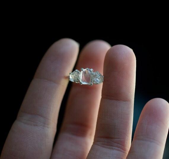 Dreifach Roh Diamant Verlobungsring Ungeschliffener Etsy