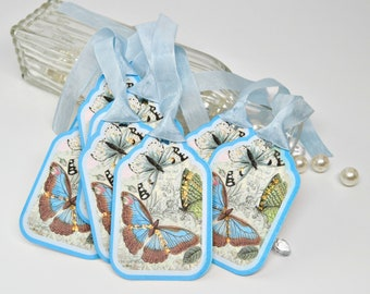 Blue Butterfly Thank You Tags, Blue Garden Butterfly Tags, Set of 8, Glitter Butterfly Gift Tags, Favor Tags
