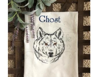 Custom Embroidered Wolf Towel, Kitchen Towel, Guest Bath Towel, Flour Sack towel