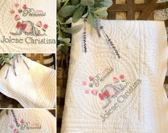 Personalized Crib Blanket, Embroidered Baby Quilt, Custom Birth Announcement Gift