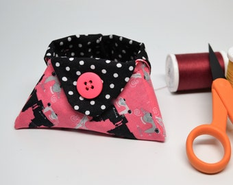 Mini basket, Thread Basket, Lipstick Holder, Bath and Beauty Catchall, Paris Pink and Black Polka Dot Tiny Triangle Bowl